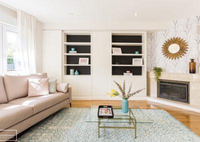 Home Staging salón con muebles y accesorios de alquiler en Pozuelo – Madrid